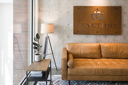 Keystone company sign on the wall of reception